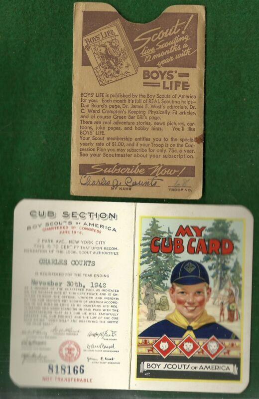 VINTAGE NOVEMBER 1942 BI-FOLD CUBS BSA MEMBERSHIP CARD