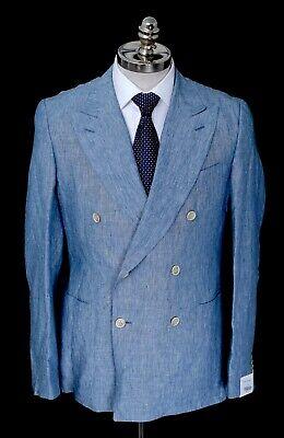 NWT CARUSO Blue Linen Double Breasted Peak Lapel Sport Coat Blazer 38 R (EU 48)