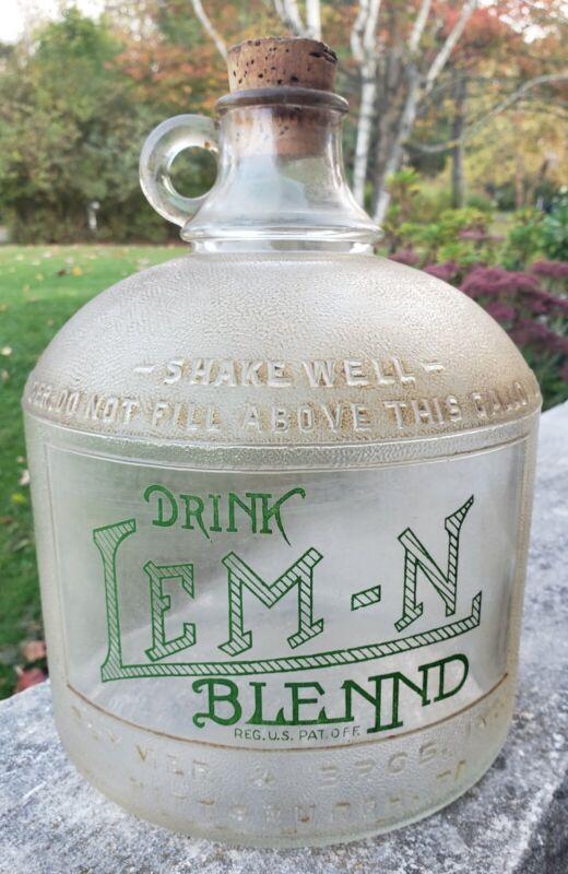 Vintage Rare Drink Lem-n Blennd Glass Syrup Bottle Soda Advertising Gallon Jug