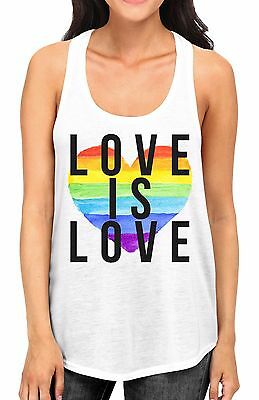 Rainbow White Tank - Juniors Rainbow Heart Love is Love White Racerback Tank Top LGBT Gay Pride B780