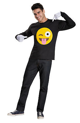 Emoticon Tongue Deluxe Costume Kit Sticker And White Gloves Halloween Disguise
