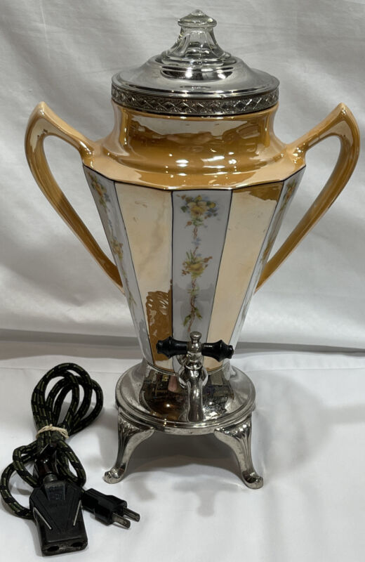 "Royal Rochester Coffee Pot Electric Percolator Orange Lusterware Porcelain 12"""