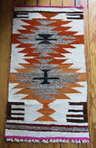 Navajo Indian Hand Woven Mission Cross Design Textile Rug Wall Hanger Weaving
