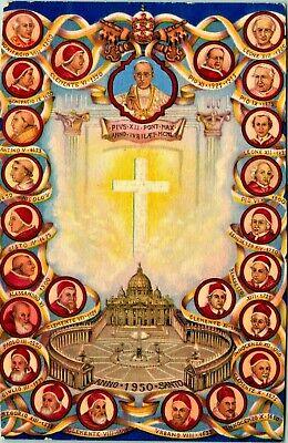 1949 Postcard Commemorative Of All The Popes Grafiche L Gigli Artist Signed