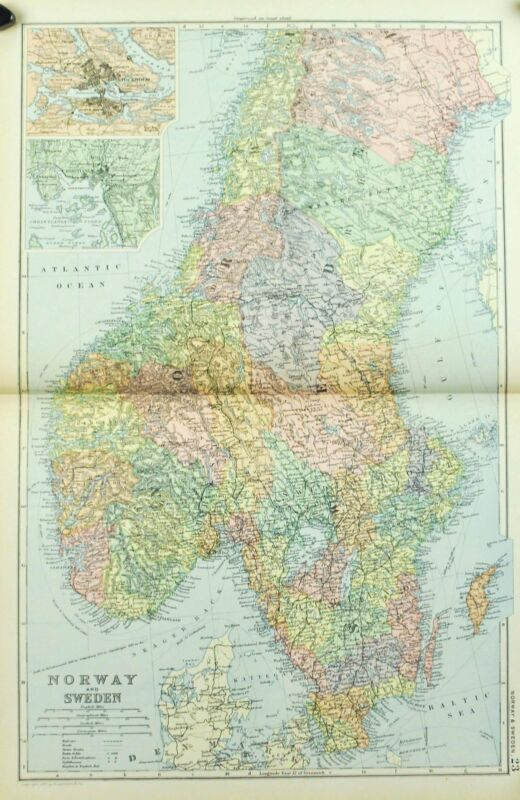 1891 Norway Antique Map
