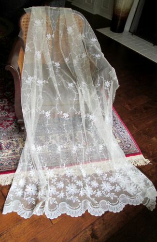 """Antique Tambour Embroidered Net Lace - 76""""(l) x 8 YARDS (w) - Doll Bridal Panels"""