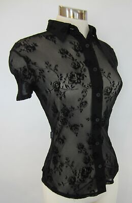 44 10 Moschino Jeans Black Vintage 90's Rose FLoral Stretch Mesh Shirt S