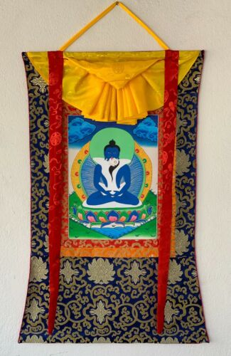 SAMANTABHADRA,TANTRATIC  TIBETAN THANGKA, THANKA PAINTING,  WITH SILK  BROCADE
