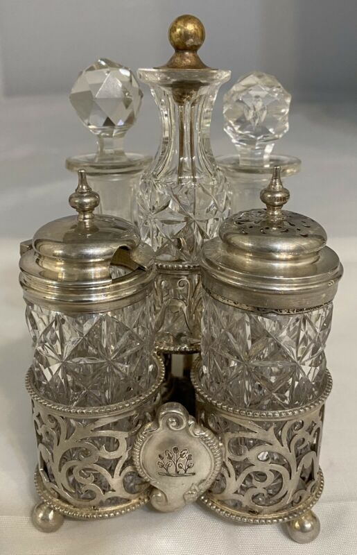 Antique English Cut Crystal 5 Piece Condiment Set Cruet Georgian Silver Plate