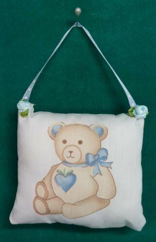 Handmade Fabric NURSERY DOOR KNOB HANGER Teddy Bear w/Blue Ribbon Hanger