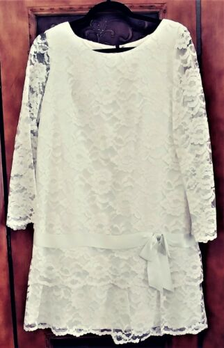 1960S WHITE  ALL-OVER LACE DRESS WITH ROSES TRUE VINTAGE (BRIDAL/WEDDING?)WOMENS