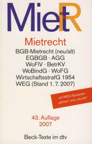 MIETRECHT - Buch - Beck Texte im dtv - 43. Auflage 2007 - Wie NEU - BGB - WEG -