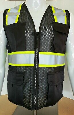 Two Tone Hi Visibility Reflective Black Safety Vest X-small To 5xl