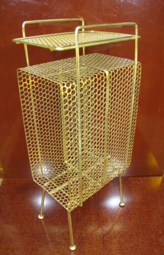 Mid Century Gold Perforated Metal/Wire Telephone & Record Or Plant Stand Cabinet