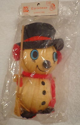 SNOWMAN CHRISTMAS ORNAMENT DECORATION VINTAGE FCS ROC TAIWAN CORN HUSK NIP