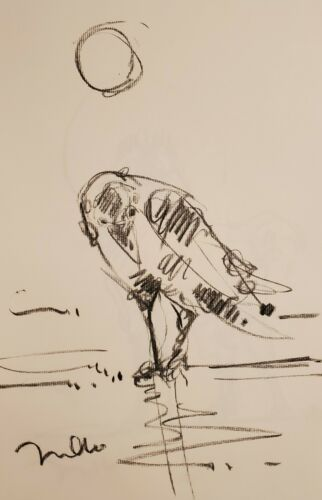 JOSE TRUJILLO - Original Charcoal Paper Sketch Drawing 11X17 RAVEN BIRD SIGNED