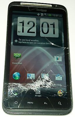 FOR PARTS OR NOT WORKING HTC THUNDERBOLT 8GB BLACK VERIZON SMARTPHONE CRACKED GLASS BAD LCD AS IS