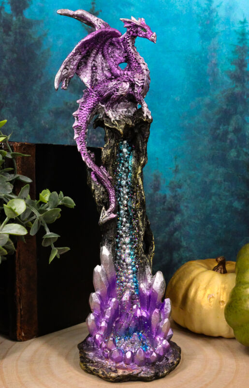 "Ebros Purple Dragon On Crystal Rock Quarry Incense Burner Tower Figurine 10.5"" H"