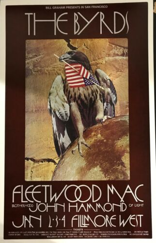 The Byrds/ Fleetwood Mac- Original Fillmore Poster (2nd Printing)- 1-2-70
