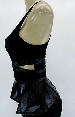 Bebe Womens Black Peplum Tank Top Clubwear Faux Leather Stretch Sleeveless Sexy
