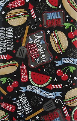 Good Friends American BBQ Vinyl Flannel Back Tablecloth Various Sizes