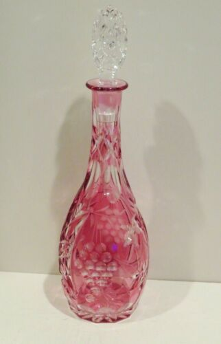 BOHEMIAN CUT TO CLEAR CRYSTAL CRANBERRY GLASS WINE DECANTER