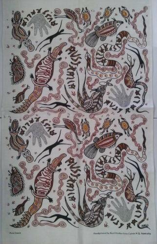 vintage linen tea dish towel AUSTRALIA aboriginal art NWOT Reef Productions