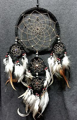"""Dream Catcher Black Wall Hanging Decoration Ornament Bead Feather Suede long 22"""""""