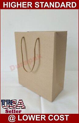 100 Pk Natural Kraft 8x4x10 Cub Euro Tote Bags Retail Shopping Bag Shopper