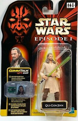 STAR WARS Figures Qui Gon Jinn EP1 Carded Episode 1 CommTalk