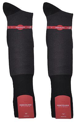 Calf Pima Cotton - 2  Pairs Marcoliani Men's Black Houndstooth Over-the-Calf Pima Cotton Socks