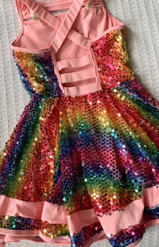 WOW!! Costume, Dress Up Dance Leotard, Sparkling Square Rainbow Sequins, CLA-NEW