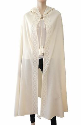 White Wool Cape Silver Embroidery Hooded Jacket One Size S M - White Hooded Cape