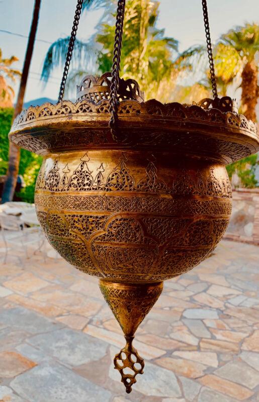 Vintage Moroccan Style Pierced Brass Pendant Lantern