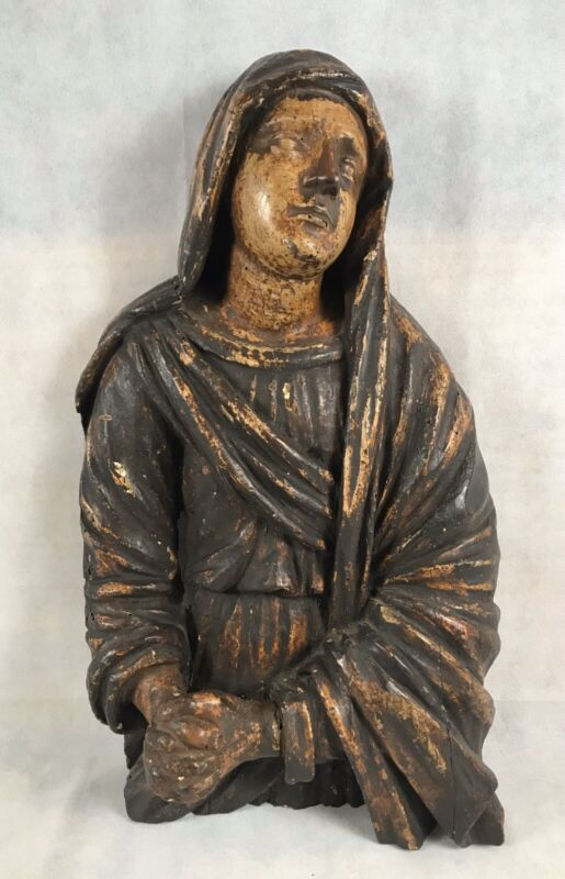 """Exceptional Large 18th C Italian Polychrome Carved Wood Saint Mary Magdalene 26"""""""