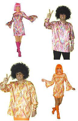 Damen Herren Paar Partner Kostüm HIPPIE 60er 70er Jahre Flower Power Kleid - Hippie Paar Kostüm