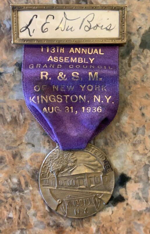 """1936 Mason Royal & Select Elders R.& S. M. Kingston, N.Y. Badge 3.75"""" His"""