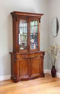 Antique Carved Serpentine Library Bookcase Glass Display Cabinet Williamstown Hobsons Bay Area Preview
