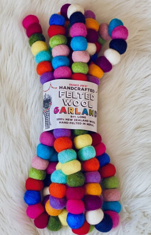 Trader Joe's Handcrafted Felted Wool Garland 100% New Zealand Wool 9ft Christmas