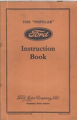 FORD MODEL Y POPULAR SALOON ORIGINAL 1936 FACTORY OWNERS INSTRUCTION HANDBOOK