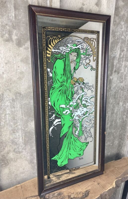 Vintage Mucha Winter Art Nouveau Mirror Advertising Collectibles Green Lady