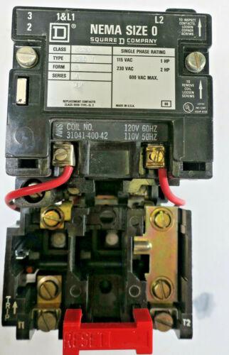 Square D NEMA Size 0 Type SBO1 Class 8536 Series A Contactor Motor Starter