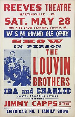 1960 The Louvin Brothers Grand Ole Opry Pre-Fillmore Boxing Style Concert Poster
