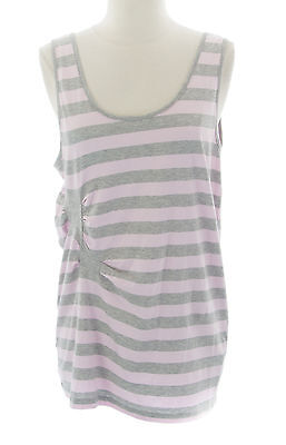 ANN-SOFIE BACK for TOPSHOP Women's Soft Pink/Grey Sleeveless Top 25A02Y Sz 6 NEW