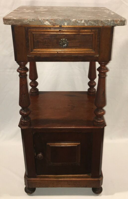 Antique Primitive 19th C Pine Wood Marble Top Half Commode Nightstand Cabinet