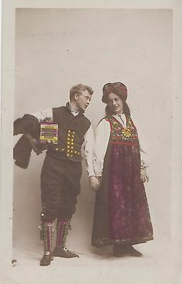 CE22.Vintage Postcard. Couple in local costume?