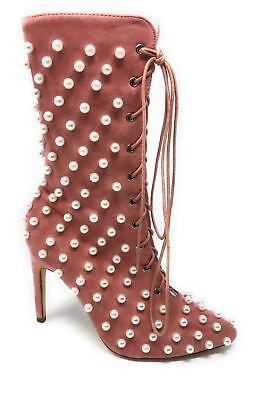 Women's Ankle Lace Up Peep Toe Pointed Heel Pearl Style Cape Robbin (Ups Drop Points)