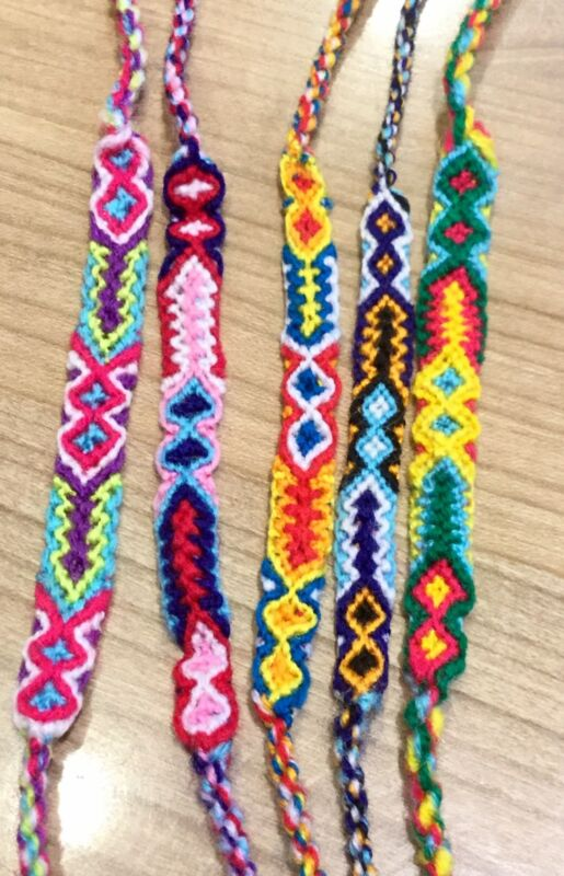 Woven Friendship Bracelets Wholesale Lot of 6 String Bands Surfer Wish Bracelet