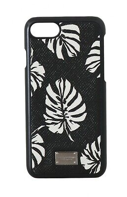 NEW $150 DOLCE & GABBANA Phone Case Black Leather White Leaves Print iPhone7