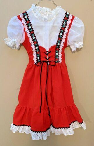 Vintage Girls Genway of California Praire Dress Red Corduroy Eyelet Lace 20-2424